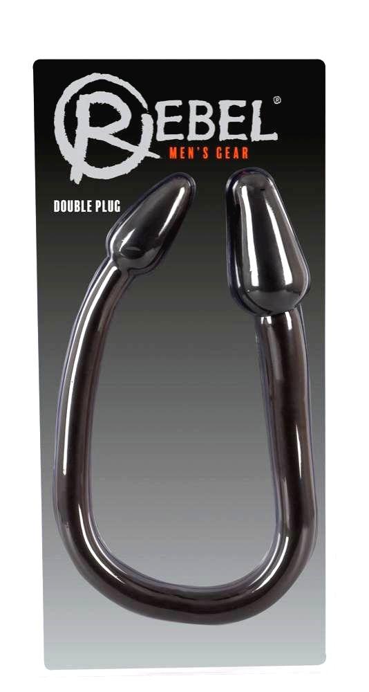 Double Plug - dvojité análne dildo (čierne)