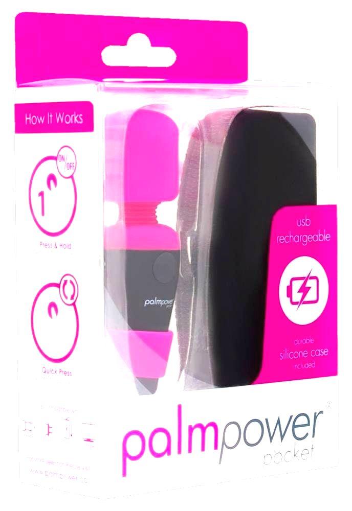 PalmPower Pocket Wand – nabíjací masážny vibrátor (ružový-čierny)