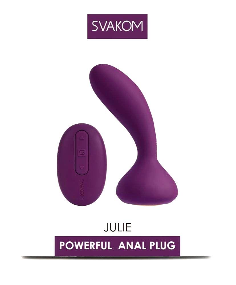 Svakom Julie nabíjací vibrátor na prostatu s diaľkovým ovládačom (fialový)