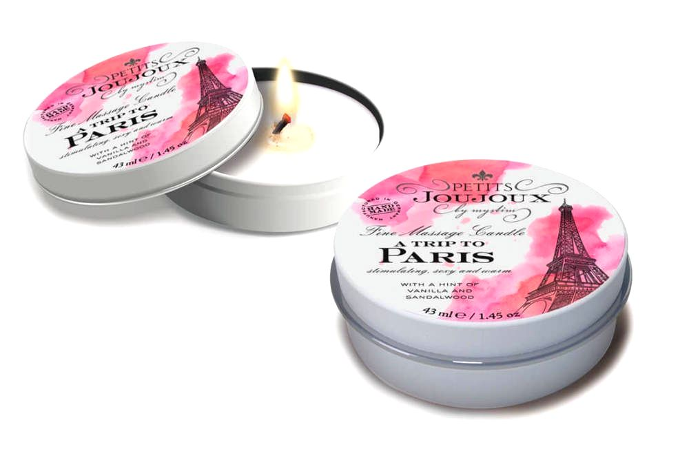 Paris - masážna sviečka - 43 ml (vanilka - santalové drevo)