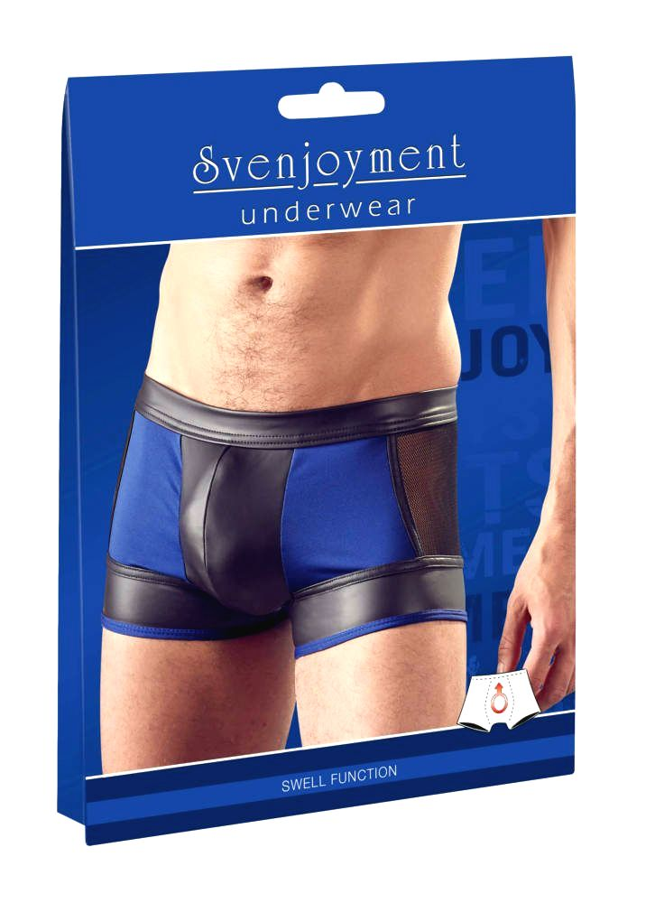 Svenjoyment shiny boxer with fishnet insert (black-blue)