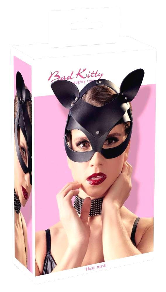 Koženková mačacia maska s kamienkami (čierna)