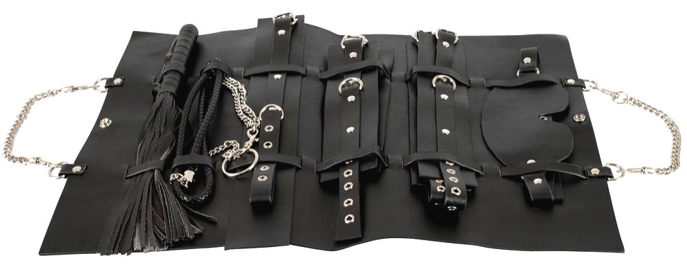 Bad Kitty faux leather binding set in bag (11 pieces) black