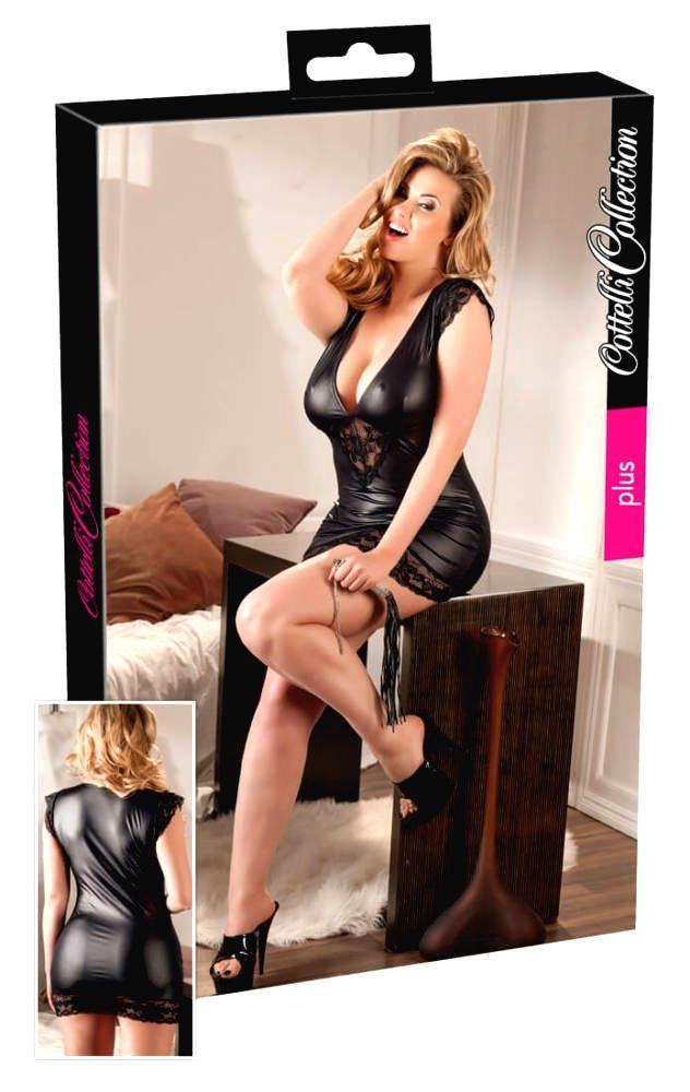 Cottelli Plus Size - lesklé čipkované šaty (čierne)