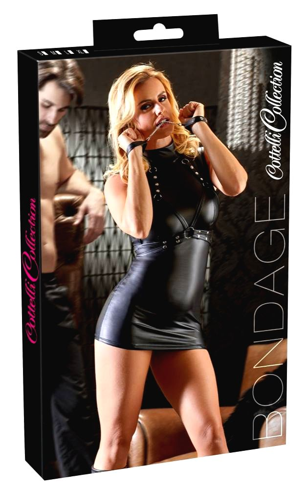 Cottelli Bondage shiny domina dress with shackles