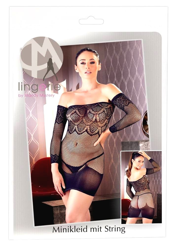 Mandy Mystery Fishnet Bib Dress with Cardigan and Thong (Black)
