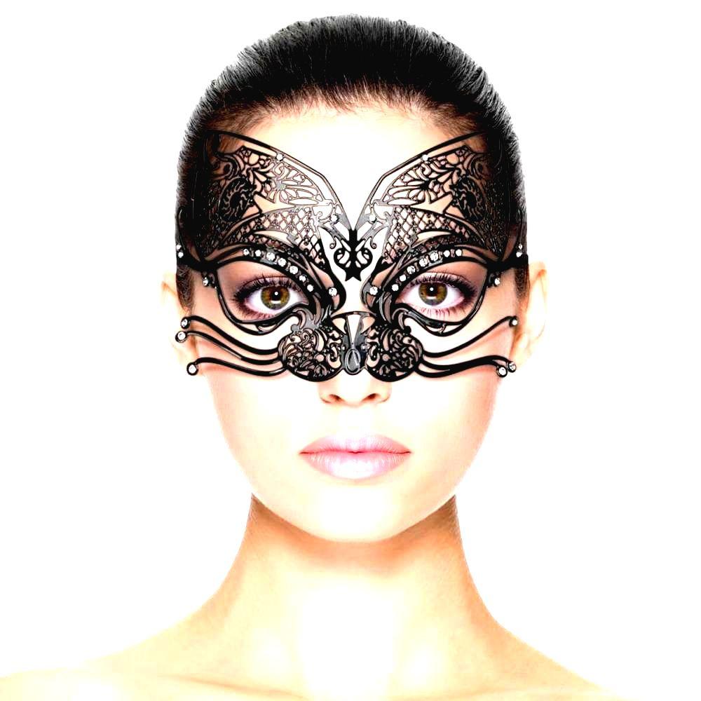 Kovová mačacia maska na tvár (čierna)