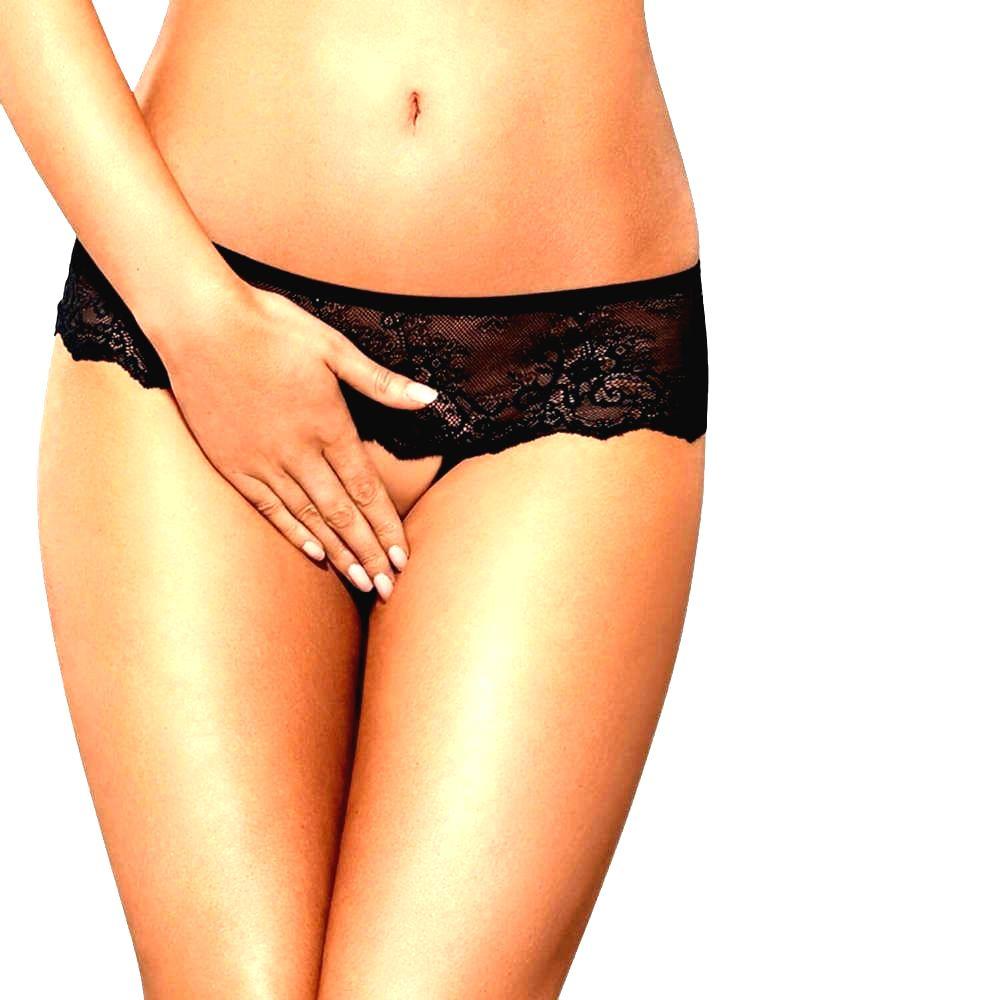 Merossa - otvorené dámske tangá so štrasovou ozdobou (čierne)