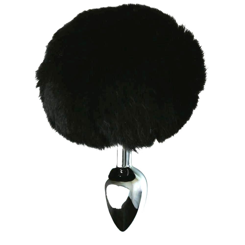 Sincerely – kovové análne dildo so zajačím chvostíkom (strieborné-čierne)