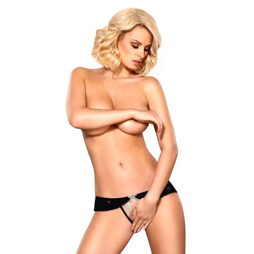 826-THC-4 CROTCHLESS THONG BEIGE & BROWN