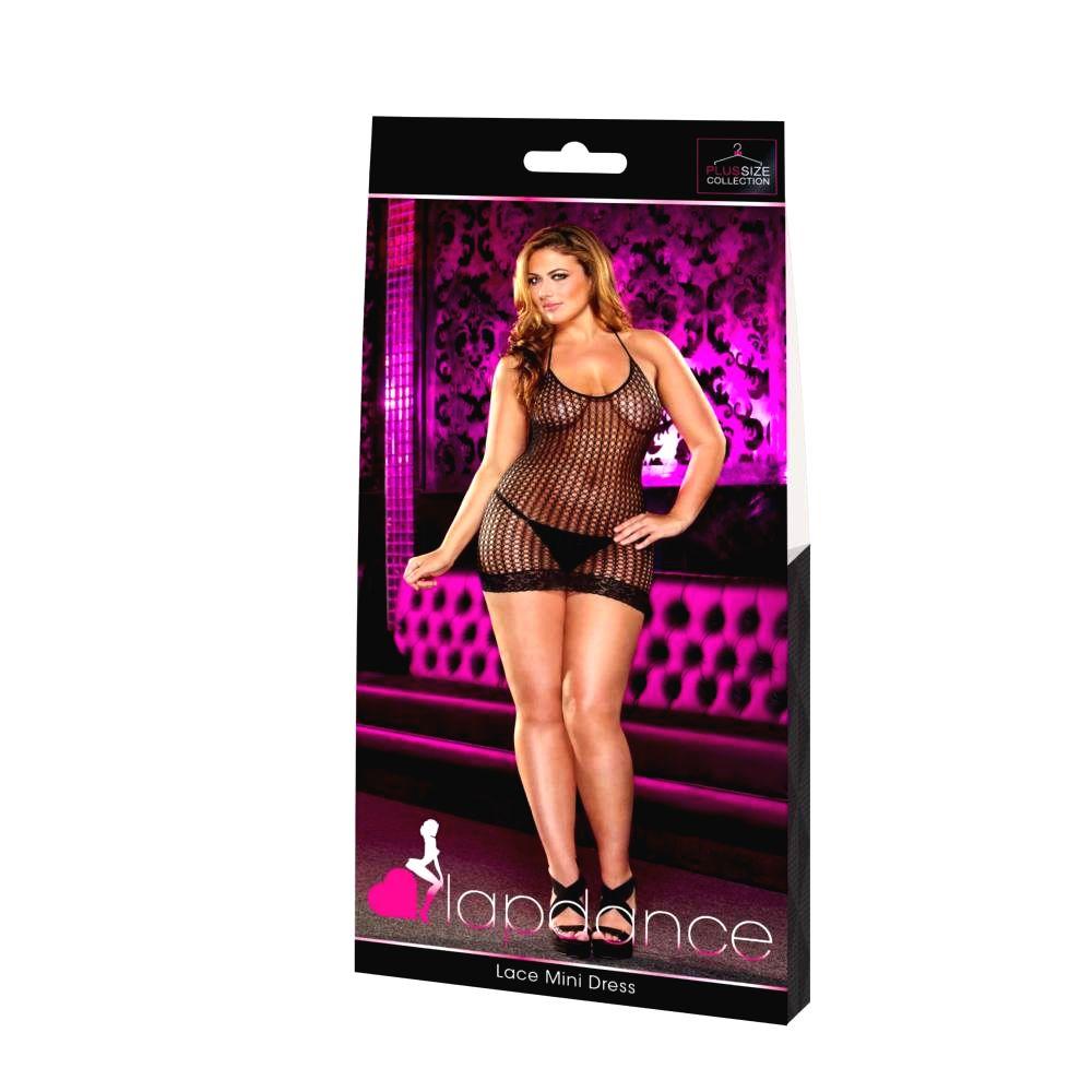 Lapdance Lace Plus Sizedierkované minišaty s ramienkom okolo krku (čierne)