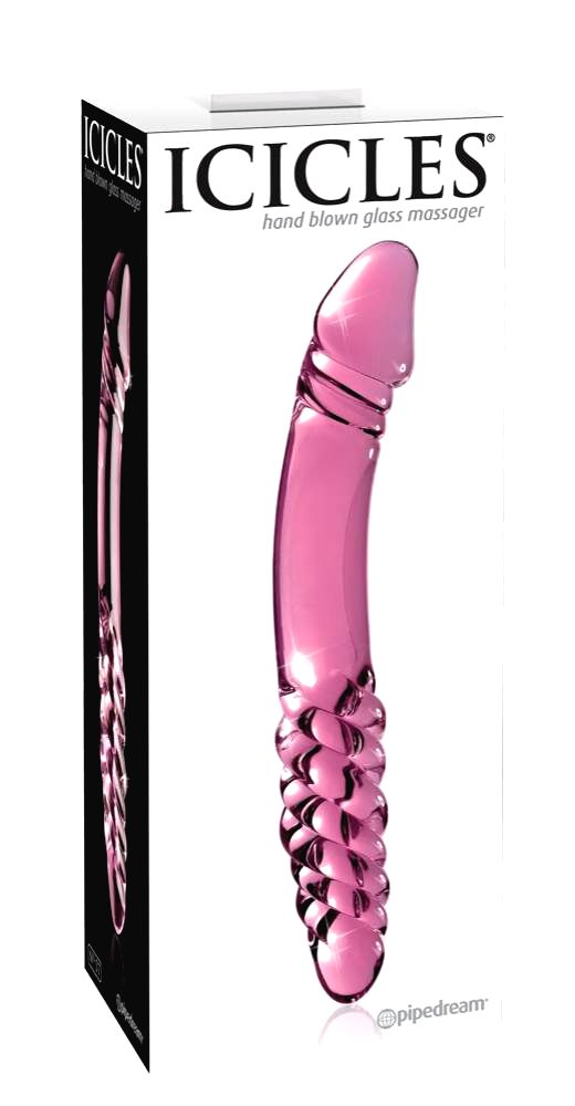 Icicles No. 57 penis double-ended glass dildo (pink)