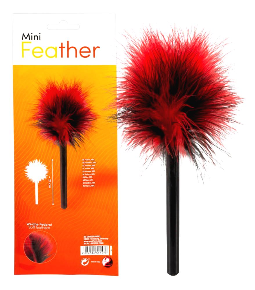 You2Toys Mini real feather caress (black-red)
