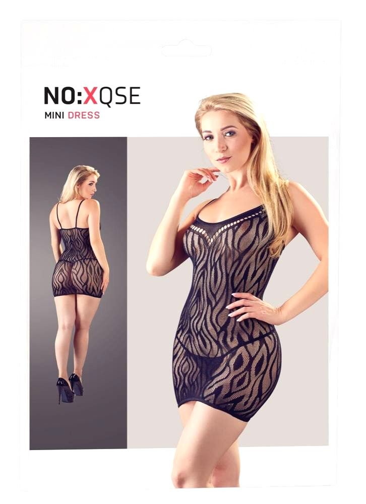 NO: XQSE transparent tiger striped dress with thong (black)